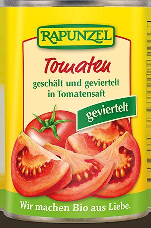 Tomaten geschält und geviertelt