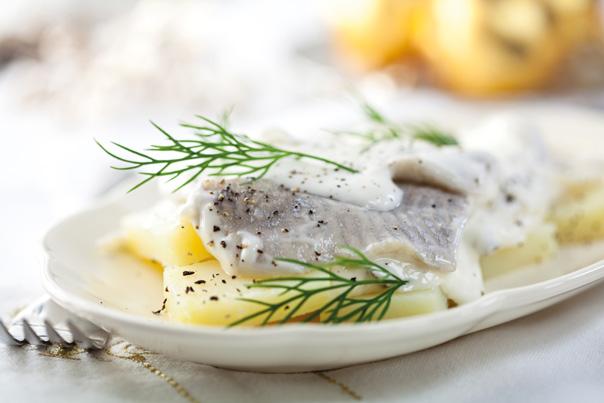 Hering-Salat mit feinem Dill in Joghurt-Sauce